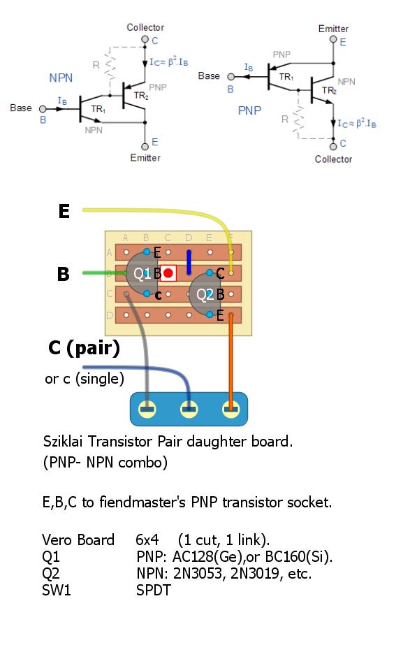 Sziklai transistor pair daughter-board